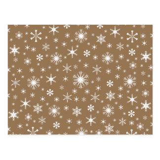 Flocos de neve - branco em Brown pálido Cartão Postal