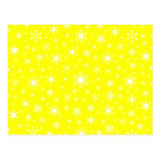 Flocos de neve - branco no amarelo cartao postal