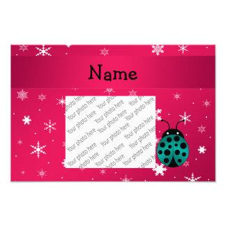 Flocos de neve cor-de-rosa escuros personalizados  impressão de foto