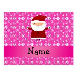 Flocos de neve cor-de-rosa personalizados do papai cartões postais