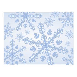 Flocos de neve da pena cartão postal