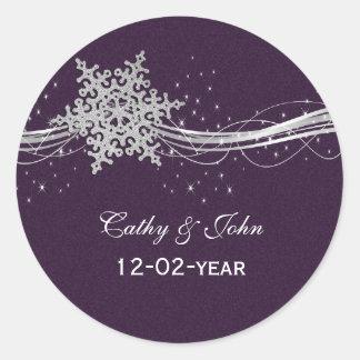 flocos de neve de prata roxos que wedding adesivos em formato redondos