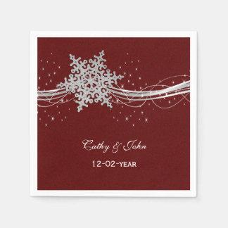 flocos de neve de prata vermelhos guardanapo guardanapos de papel