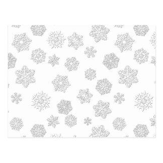 Flocos de neve do branco 3 d em um fundo branco cartão postal