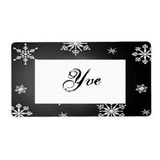 Flocos de neve do Natal pretos e modelo cinzento Etiqueta De Frete
