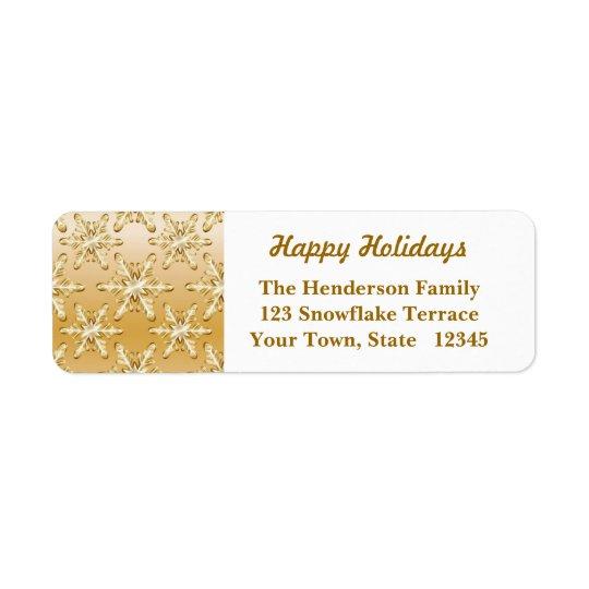Flocos de neve do ouro etiqueta endereço de retorno