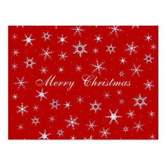 Flocos de neve do vermelho do Feliz Natal Cartão Postal