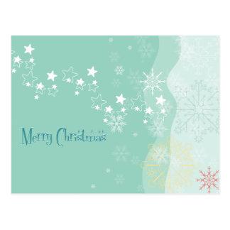 Flocos de neve e cartão do Natal das estrelas
