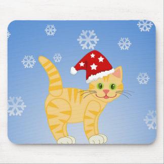 Flocos de neve engraçados do amarelo do gato do Na Mousepad