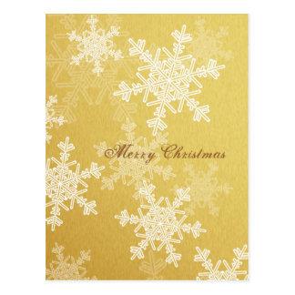 Flocos de neve femininos do ouro e do White Cartão Postal