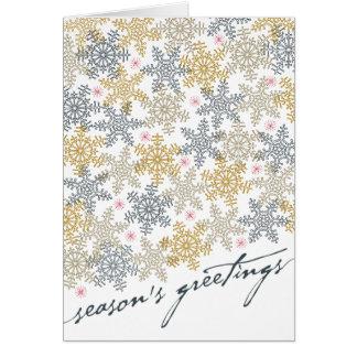 Flocos de neve festivos cartão comemorativo