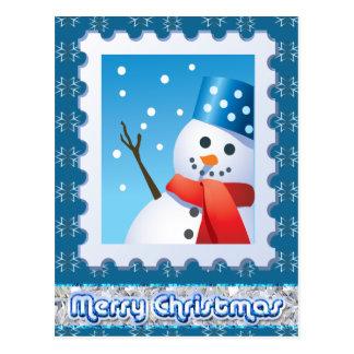 Flocos de neve festivos da prata do boneco de neve cartão postal