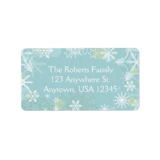 Flocos de neve festivos etiqueta de endereço