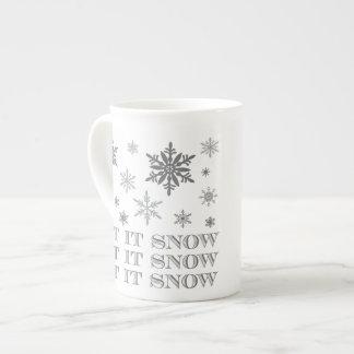 flocos de neve modernos do inverno do vintage bone china mug