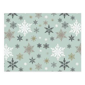 flocos de neve modernos do inverno do vintage cartão postal