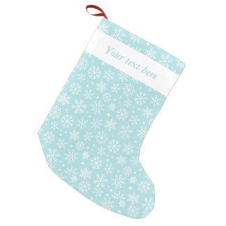 Flocos de neve na meia azul do Natal Bota De Natal Pequena