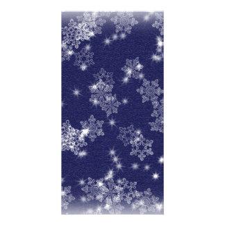 Flocos de neve no céu nocturno cartão com foto