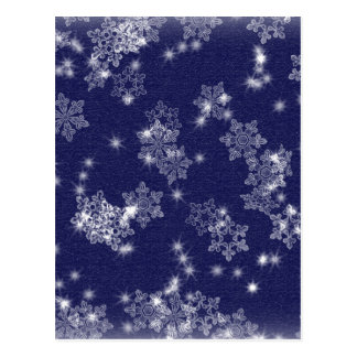 Flocos de neve no céu nocturno cartão postal