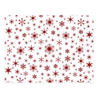 Flocos de neve - obscuridade - vermelho no branco cartao postal