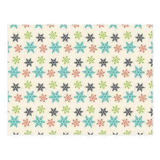 Flocos de neve retros legal do Pastel do feriado Cartão Postal