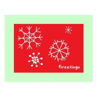 Flocos de neve terrestres dos cumprimentos cartão postal