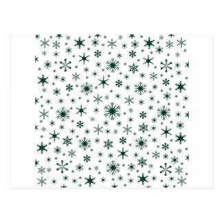 Flocos de neve - verdes escuro no branco cartão postal