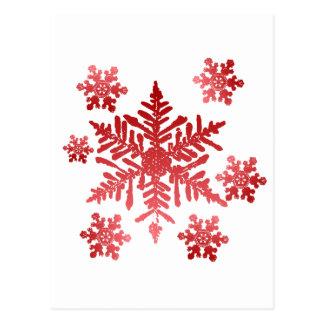 Flocos de neve vermelhos cartão postal