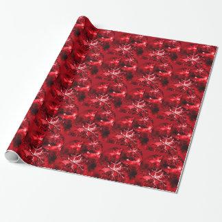 Flocos de neve vermelhos do feriado dos enfeites papel de presentes