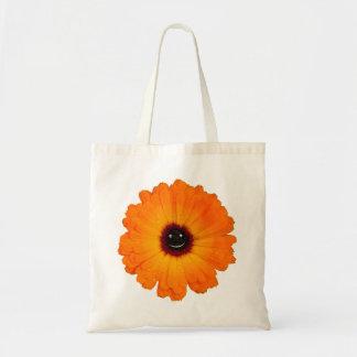 Flor alaranjada de sorriso sacola tote budget