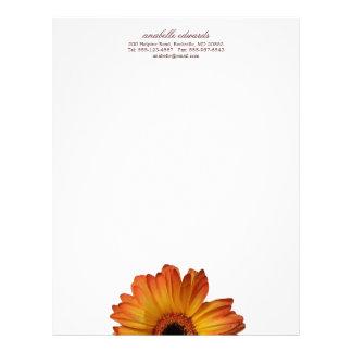 Flor alaranjada ensolarada da flor da margarida do modelos de papel de carta