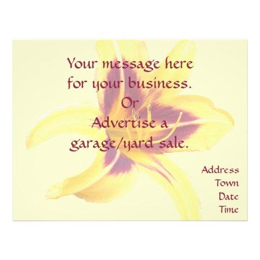 Flor amarela com vermelho, Hemerocallis do hemeroc Panfleto Personalizado