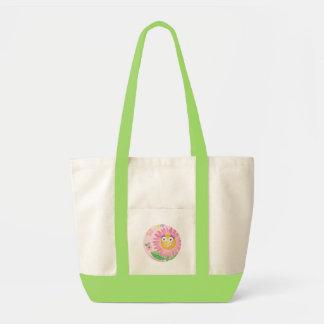 Flor antropomórfica cor-de-rosa de sorriso do SACO Sacola Tote Impulse
