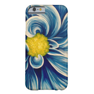 Flor azul abstrata capa barely there para iPhone 6