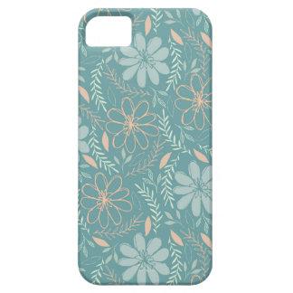 Flor azul e verde teste padrão ilustrado capas para iPhone 5