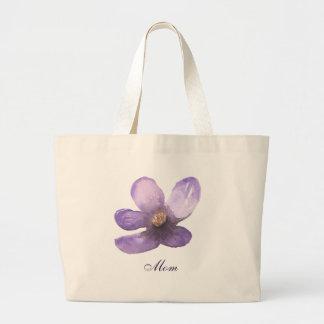 Flor bonita do roxo da aguarela da mamã bolsa tote grande