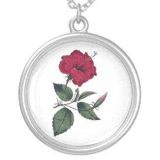 Flor botânica marrom do hibiscus colar banhado a prata