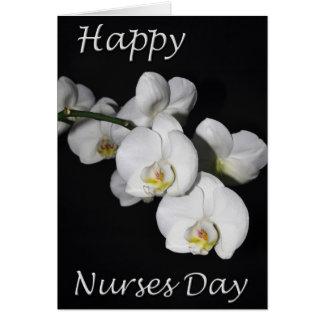 Flor branca da orquídea do dia feliz das cartão