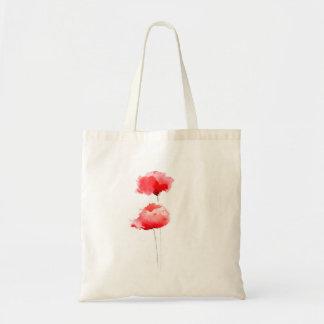 Flor branca do saco das papoilas vermelhas bolsa tote