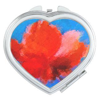 Flor compacta do vermelho do espelho do coração