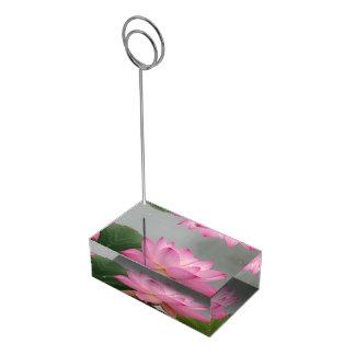 Flor cor-de-rosa de Lotus Suportes Para Cartoes De Mesa