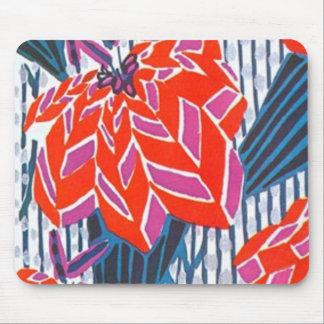 Flor cor-de-rosa e vermelha, Deco listrado azul Mo Mouse Pad