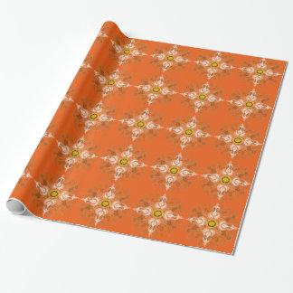 Flor da laranja de Paisley Papel De Presente