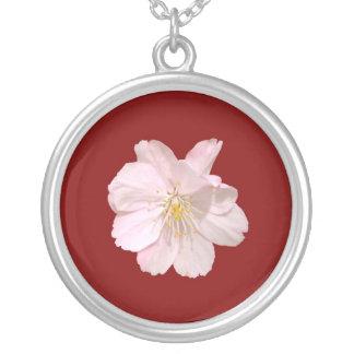 Flor de cerejeira 01 colar banhado a prata