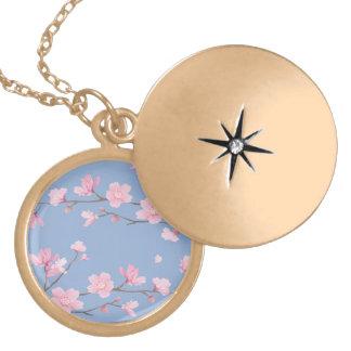 Flor de cerejeira - azul da serenidade colar medalhão