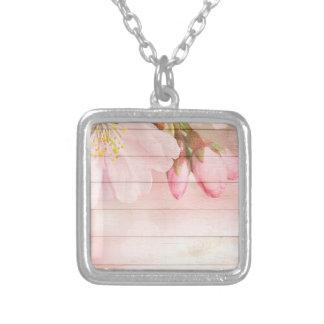 Flor de cerejeira colar banhado a prata