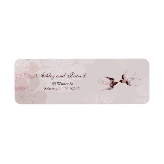 Flor de cerejeira e etiqueta de endereço floral
