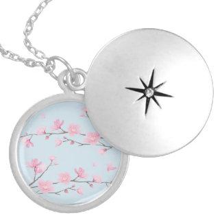 Flor de cerejeira - Transparente-Fundo Colar Banhado A Prata