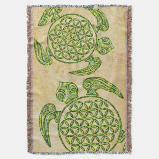 Flor de DES Lebens da vida/Blume - verde da Throw Blanket