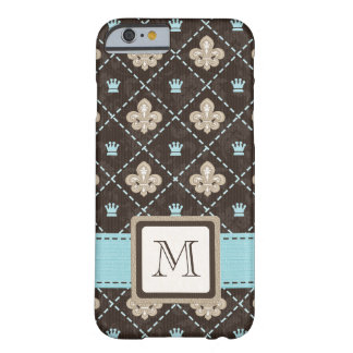 Flor de lis azul Monogrammed Capa iPhone 6 Barely There