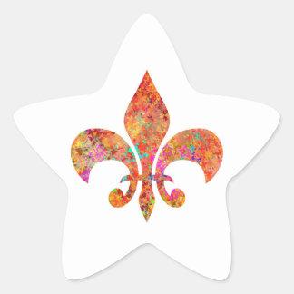 Flor de lis do desenhista adesivo em forma de estrela